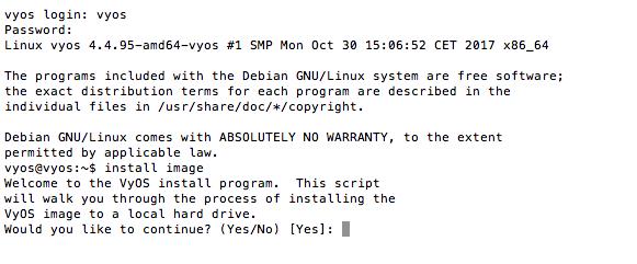 VyOS example install
