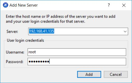 XenServer installation add server