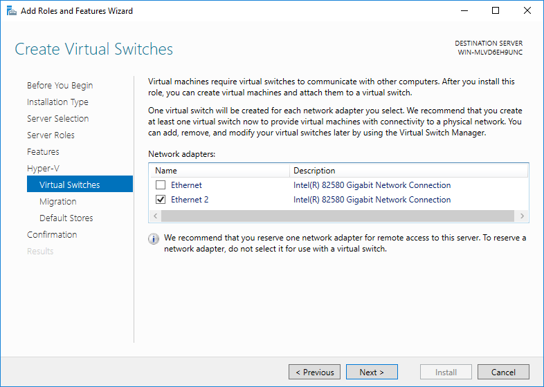 vault hyper-v virtual switches