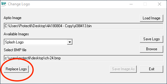 BIOS logo tool - select bmp file