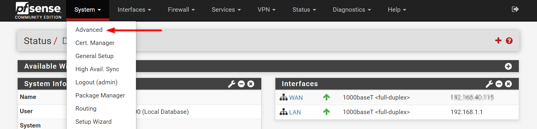 pfsense system advanced