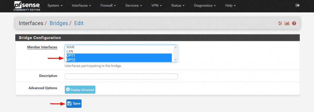 pfSense LAN Bridge OPT1 OPT2