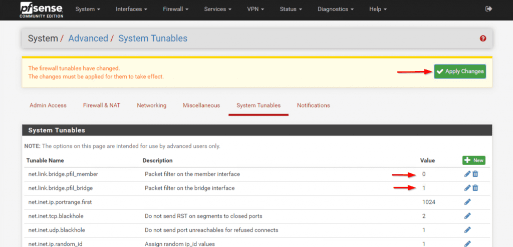 pfSense System advanced tunables