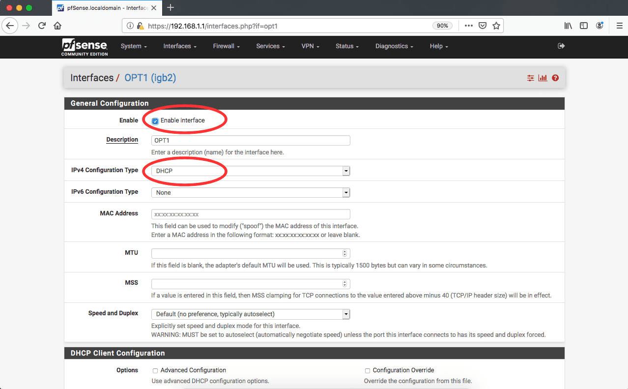 pfSense OPT1 interface