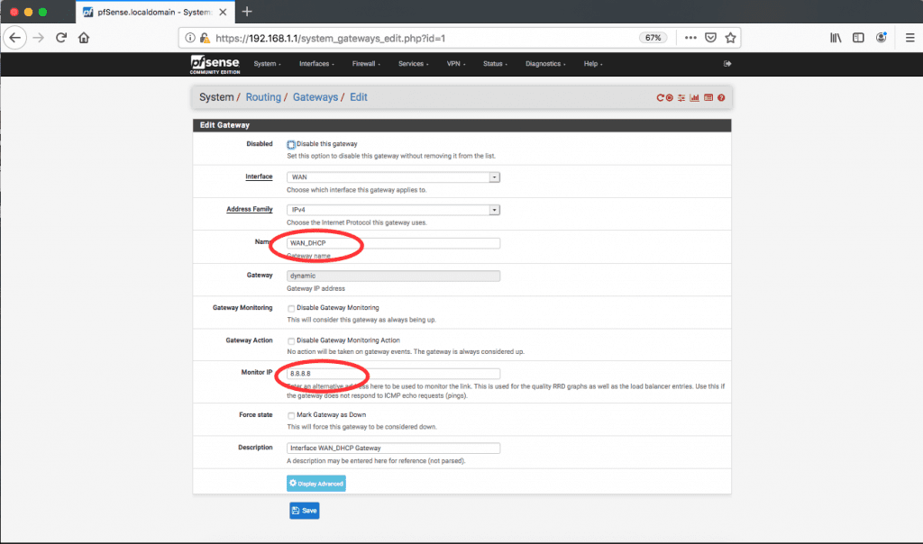 pfSense routing gateways