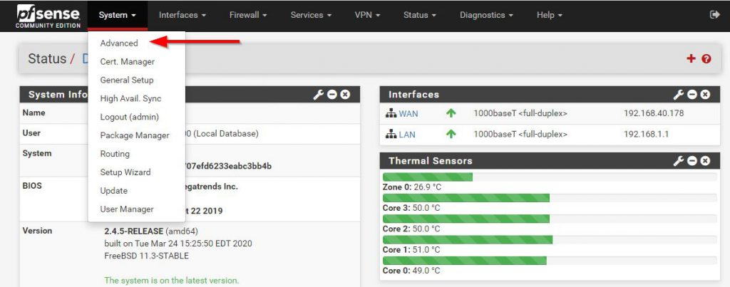 pfSense System Advanced - enable PowerD