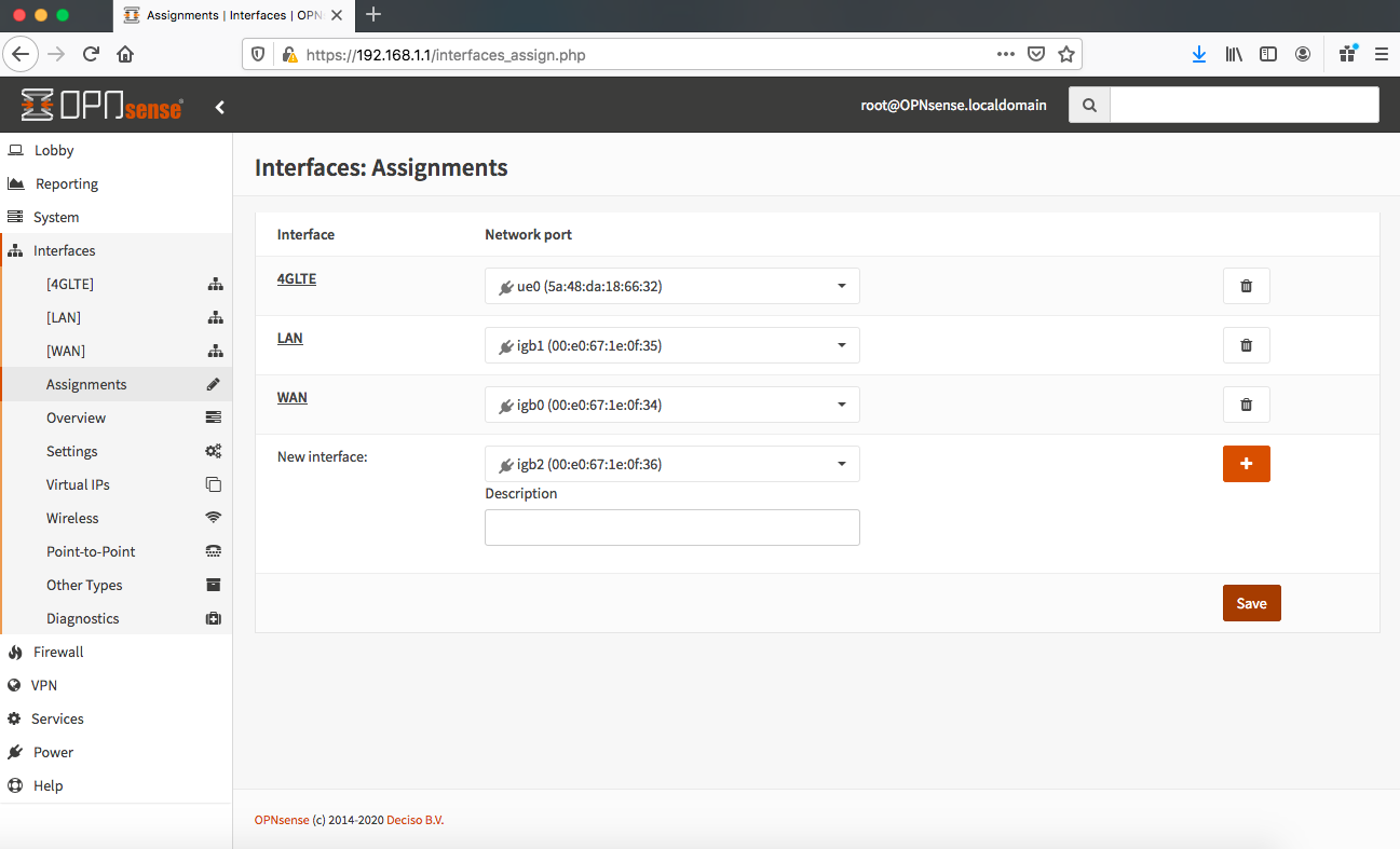 Screen Shot OPNsense Interfaces-Assignments-4GLTE