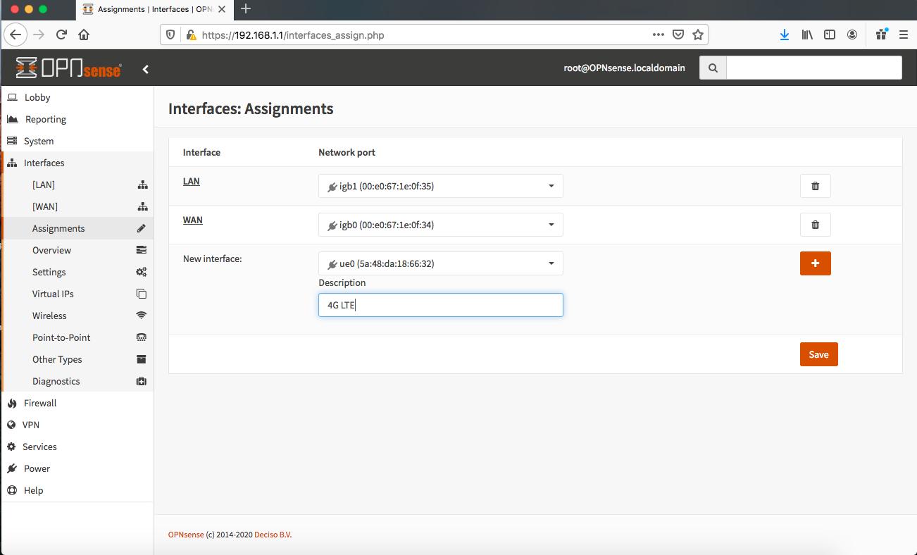 Screen Shot OPNsense Interfaces-Assignments-ue0-Description