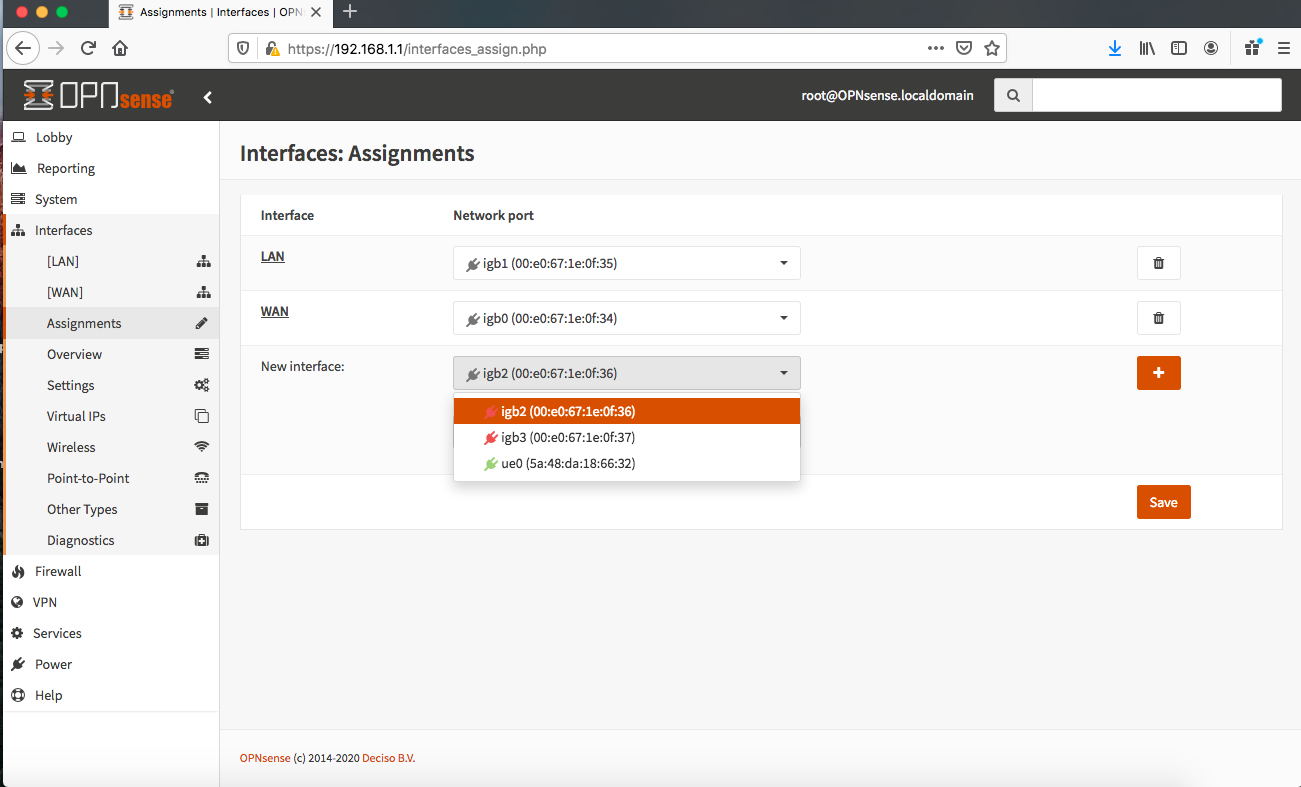 Screen Shot OPNsense Interfaces-Assignments-ue0