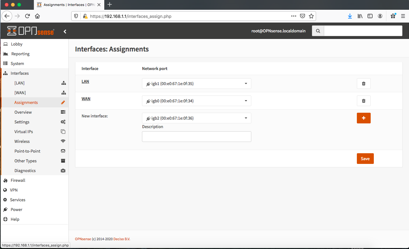 Screen Shot OPNsense Interfaces-Assignments
